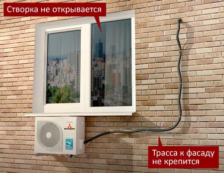 Внешний блок сплит-системы расположен под окном. Вариант 2.